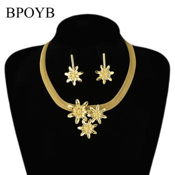 BPOYB wysokiej jakości stałe czystego złota kolor kwiat kolczyki naszyjnik zestaw biżuterii 2021 dubaj włochy afryki w projektowanie mody tanie i dobre opinie Miedzi CN (pochodzenie) Kobiety Metal Śliczne Romantyczny Earrings Necklace Naszyjnik kolczyki Moda CS0016 Zestawy biżuterii