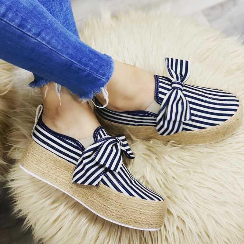 LOOZYKIT Kadınlar Flats Ayakkabı Platformu Sneakers Kayma Kalın Alt Yay Flats Deri Süet Bayanlar Loafer'lar Moccasins rahat ayakkabılar