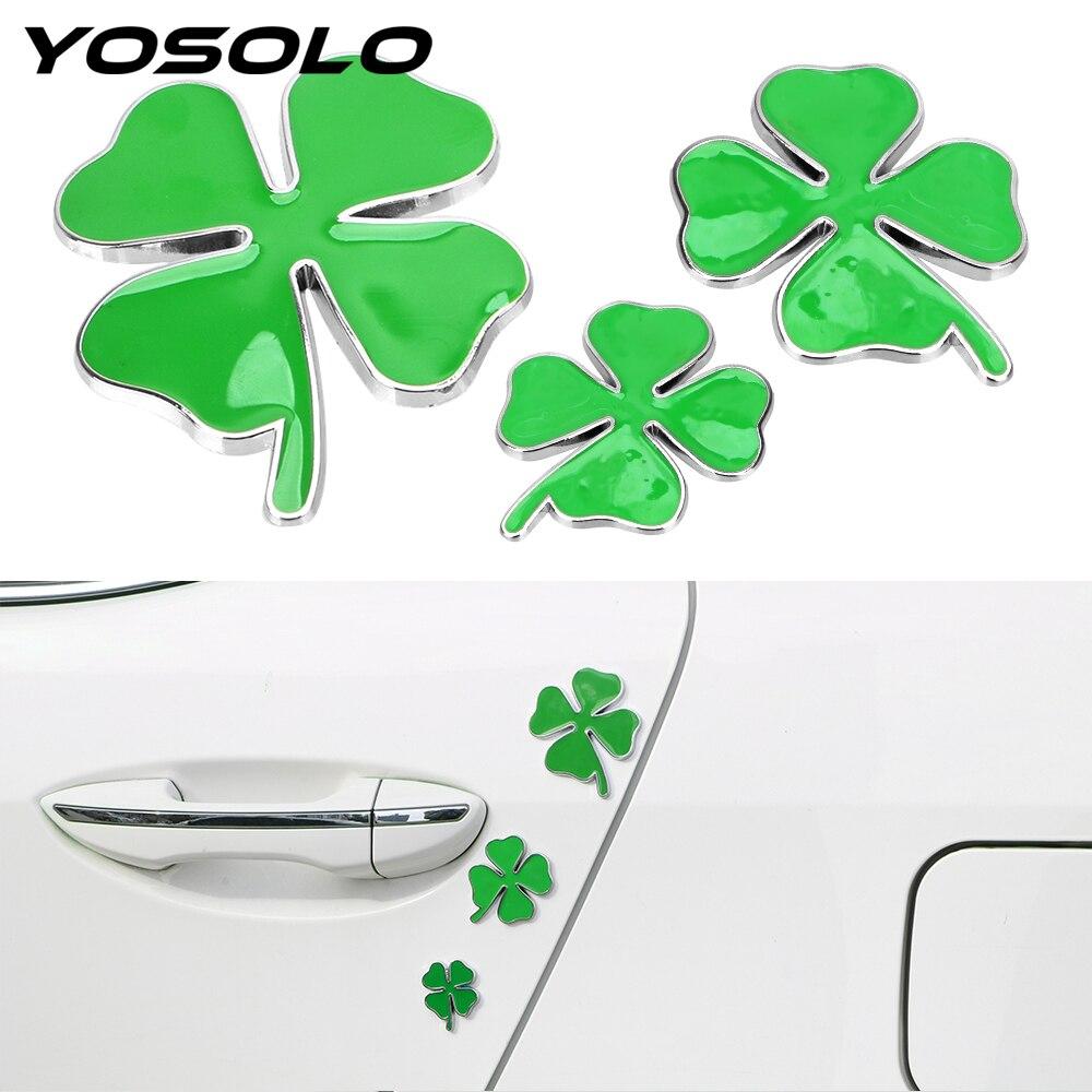YOSOLO 1 pièces jour Badge vert quatre trèfle feuille emblème voiture autocollant universel amour chanceux symbole Chrom métal Auto décalcomanies voiture style