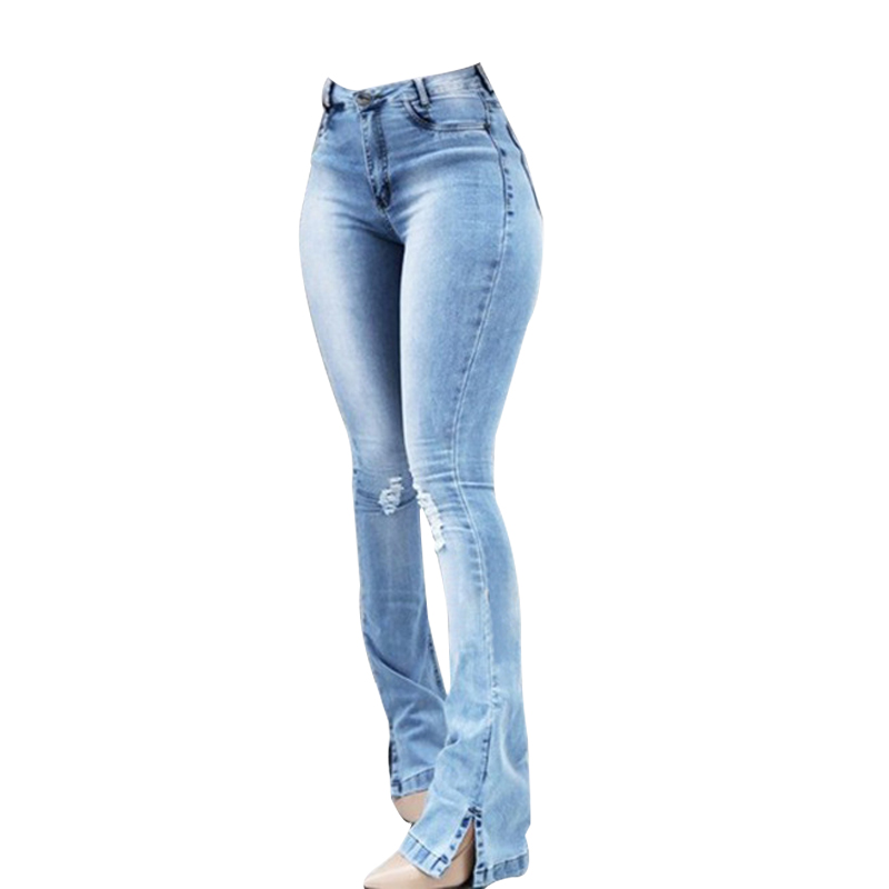 Leg Jeans Denim Trousers High-Waist Wide Pants Slim Blue Vintage Stretchy Women Spring