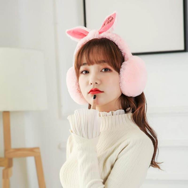 Calymel Fashion Casual Simple Winter Folding Cute Rabbit Ears Shape Plush Warm Women's Earmuffs Wholesale