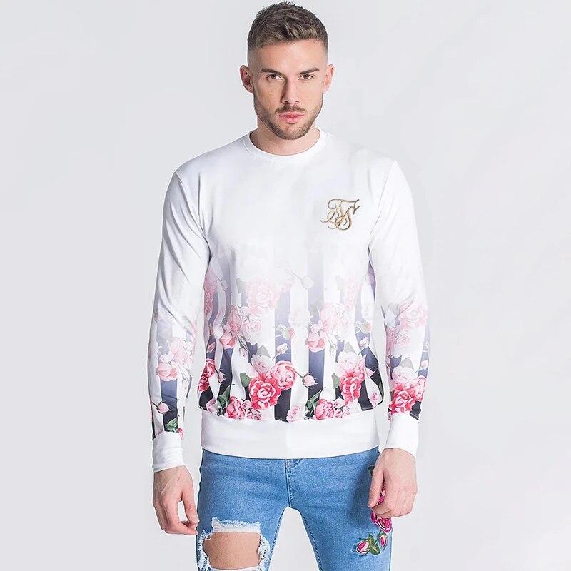 Men's Sik Silk Long Sleeve T Shirt Men Hip Hop Streetwear Brand Autumn Winter Silk Silk Tshirt Tops Undershirts Siksilk Clothing