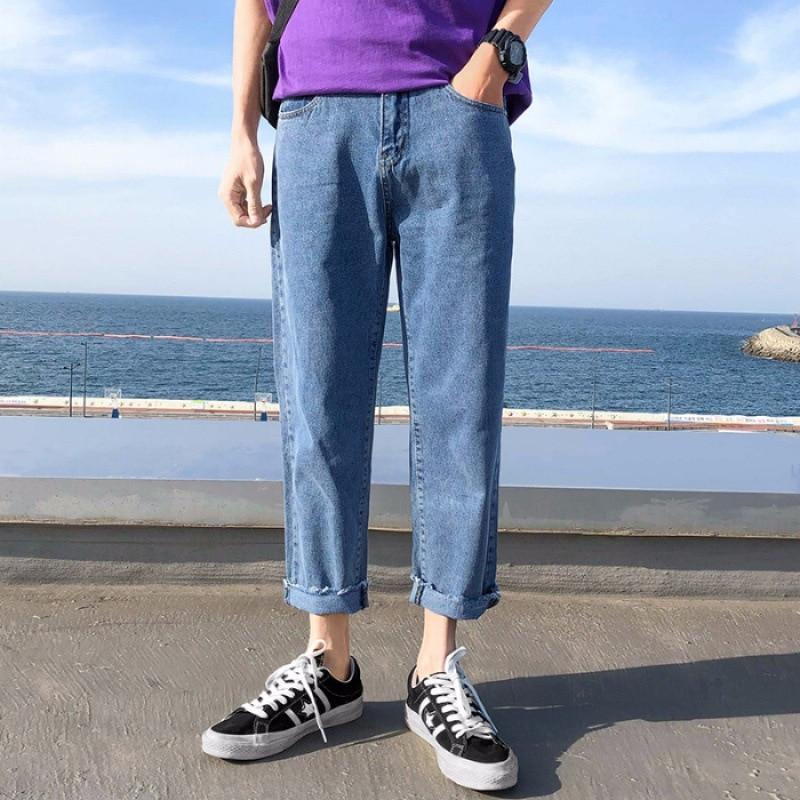 INS Pants Men's Korean-style Popular Brand With Holes Wide-Leg 9 Capri Jeans Men's CHIC Loose Straight Pendant Sense Dad Pants