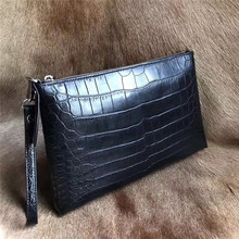 Authentic Crocodile Belly Skin Businessmen Large Laptop Clutch Purse Genuine Alligator Leather Male Black Wristlets Bag