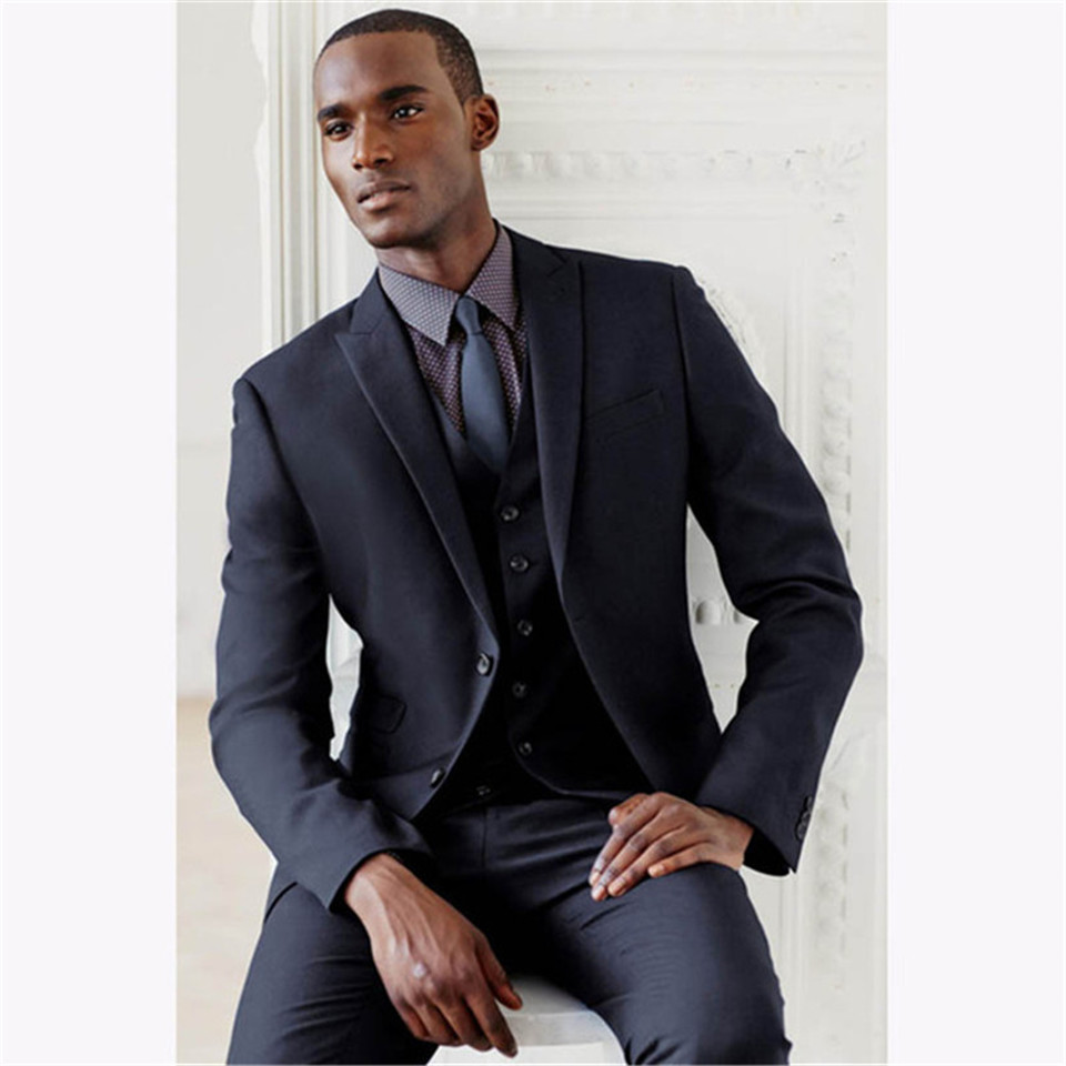 New Classic Men's Suit Smolking Noivo Terno Slim Fit Easculino Evening Suits For Men Navy Blue Stripe Double Breasted Blazer Tux