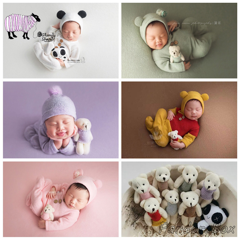 3Pcs/Set Newborn Baby Boy Girl Cartoon Hat+Rompers Photography Props Infant fotografia Accessories Baby Photo Shoot Outfits Prop