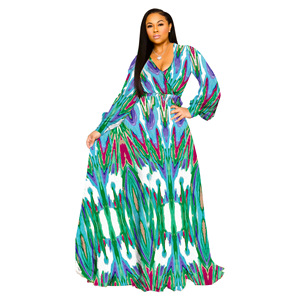 Image 4 - S 5XL Plus Size African Dresses For Women Robe Loose Dress Dashiki Floral Print Lady Africa Clothing Gown For Women