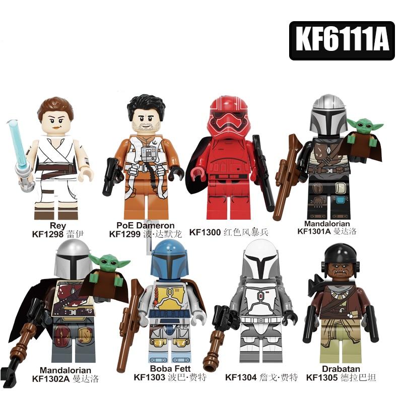 Yoda Baby War Series Figures Toy Rey PoE Dameron Mandalorian Jango Gift Drabatan Building Blocks Boys  Toys KF6111A