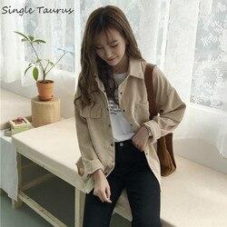 Sztruks bluzka kobiety moda z długim rękawem Preppy szeroki pas skręcić w dół kołnierz Crop kurtka damska Harajuku dorywczo kieszeń kurtka 1