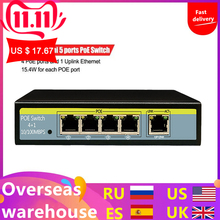 5 Port 10 100Mbps Network Switch 802 3af 52V Switch For Lift IP Camera 4POE Ports