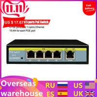 Commutateur de réseau de 5 Ports 10/100Mbps commutateur 802.3af 52V pour la caméra IP d'ascenseur les Ports 4POE et 1 prise en charge Ethernet de liaison montante prolongent 250m