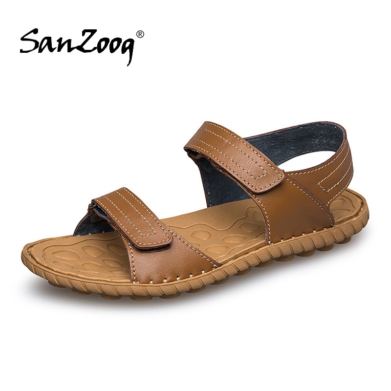 Light Casual Genuine Leather Men's Sandals Men Breathable Sandal Summer Open Shoes Men Sandalias Homem Sandles Mens Sandałki