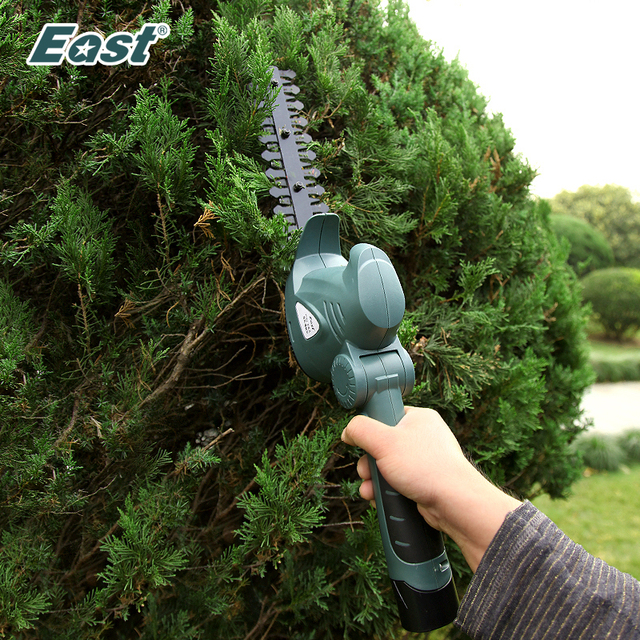 East 10.8V Electric Hedge Trimmer 2 in 1 Li ion Cordless Grass Trimmer Lawn Mower Rechargeable Garden Pruning Shears ET1007C