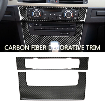 Interior Trim Carbon Fiber Air conditioning CD control panel decoration For BMW E90 E92 E93 Car styling 3 series accessories image