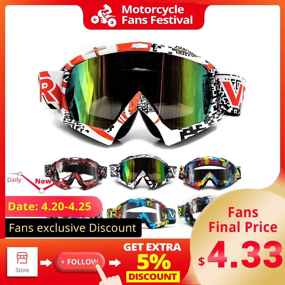 Colorful Lens Sports Motorcycle Bike Googles Helmet Glasses Adjustable Strap