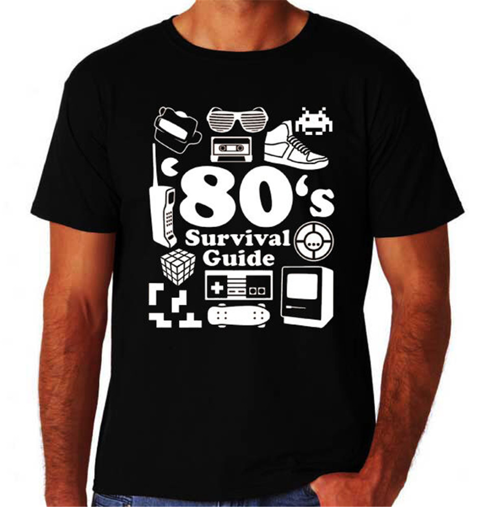 80'S Survival Guide Funny Retro Eighties Costume Party Music Movie Black T-Shirt Summer O Neck Tops Tee Shirt image