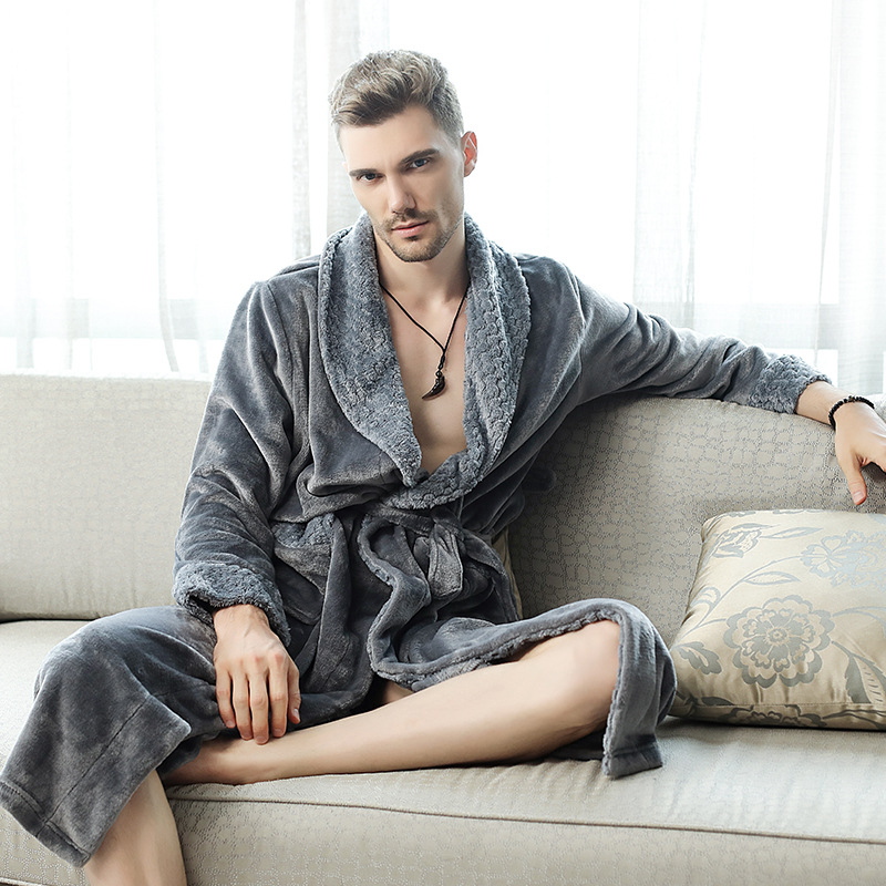 Morning Gown Man Sleeping Wear Flannel Stitching Nightgown Autumn/winter Long XL Thick Men/women Couple Pajamas Bathrobe