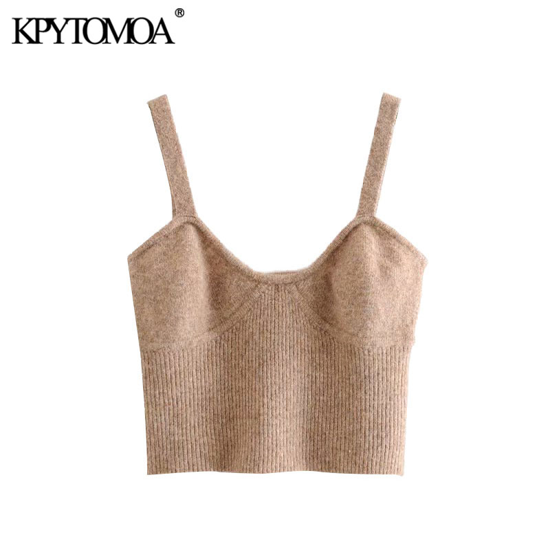 KPYTOMOA Women 2020 Sweet Fashion Knitted Cropped Blouses Vintage V Neck Backless Straps Female Shirts Blusas Chic Tops