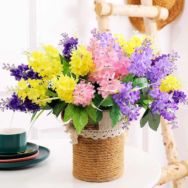 5 מזלג/חבורה פרובנס פרחים מלאכותיים סגול מזויף לבנדר כלה זר ירוק משי עלים עבור בית המפלגה חתונת קישוט