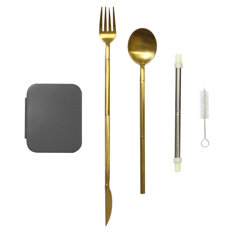 High-quality Durable Non-toxic Healthy Portable Stainless Steel Folding Knife Fork Spoon And Straw Tableware Set