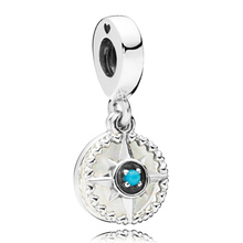 Original Silver Enamel Compass Rose With Blue Crystal Pendant Beads Fit 925 Sterling Silver Charm Bracelet Diy Jewelry