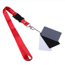 Cartes d'équilibre 3 en 1 blanc noir gris 18 degrés, taille S avec sangle de cou, accessoires de photographie pour appareils photo numériques