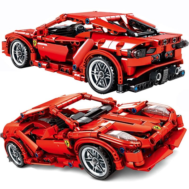 603Pcs Ferraried F1 Racing Car Building Blocks Fit Legoinglys Technic Racer Vehicles Supercar Playmobil Bricks Kids Boys  Gifts