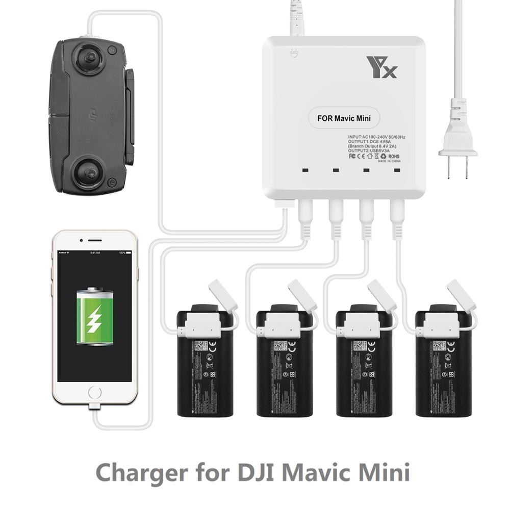 For Mavic Mini Drone 6 In 1 Battery Charger With USB Port Remote Control Charging Hub For DJI Mavic Mini  Home Charger Accessory