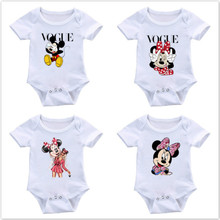 Summer Newborn Baby Boy Girl Short Sleeve VOGUE Mickey Minnie Mouse Rompers Infant Jumpsuit Cute Baby Clothes One Piece Outfits