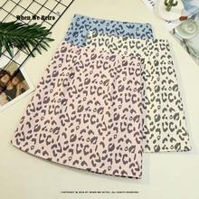 Leopard Skirt Animal-Printed Pink Korean-Style Women Ladies Apricot VD1885 Sexy Blue