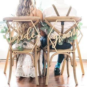 Image 1 - Baner drewniany na krzesło krzesła znak DIY dekoracje ślubne zaręczyny materiały na wesele panna młoda i pan młody/pan i pani/lepiej i razem