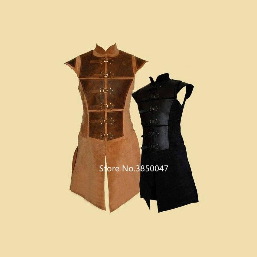Medieval Vicotira European Court Samurai Cosplay Costume for Men Knight Armor Retro Stich Sleeveless Leather Vest Plus Size(China)