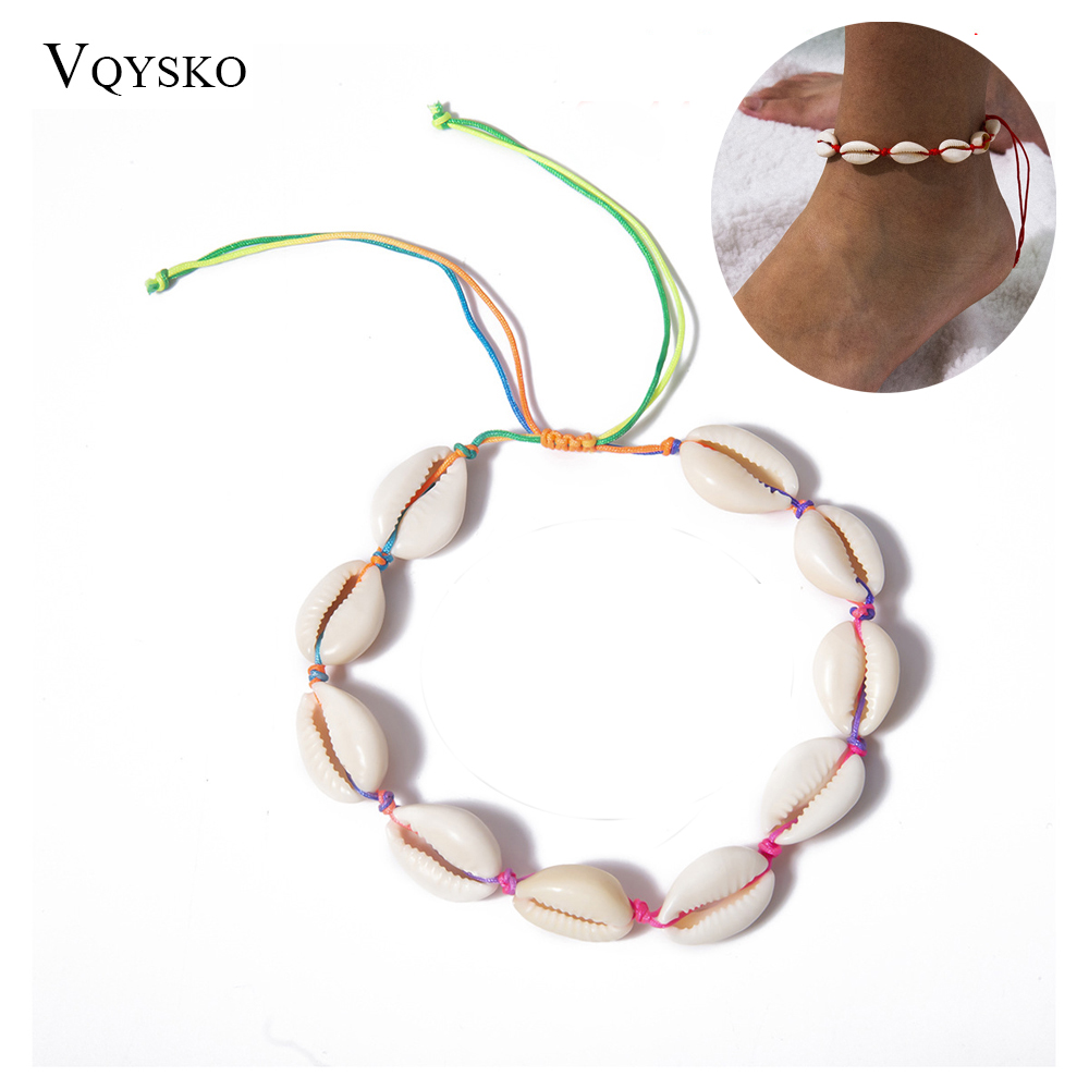 Bohemian Shell Anklets for Women Handmade Leather Woven Sandálias Femininas  Jewelry Summer Beach Barefoot Bracelet Ankle On Leg