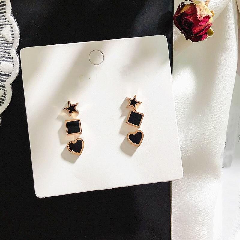 6 Pcs/Set Titanium steel Heart Star Stud Earrings For Women Korean Geometric Rhinestone Brinco Ear Cuff Fashion Jewelry Gifts