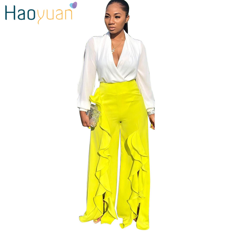 HAOYUAN Casual Ruffle   Pants   Womens Festival Clothing Loose   Pants   Streetwear   Wide     Leg     Pants   2019 New Fashion Fall Ladies Trousers