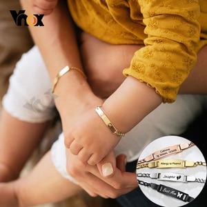 Vnox Custom Mom & Baby Bracelet Adjustable Stainless Steel Link Chain Bracelet New Born Child Boys Girls Bangle Women Jewelry