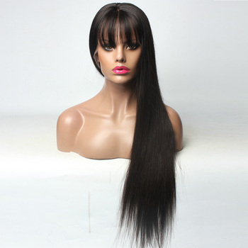 Hesperis 360 Lace Frontal Wig Pre Plucked With Baby Hair Peruvian Remy Human Hair Lace Front Wigs With Bang Silk Straight Wigs