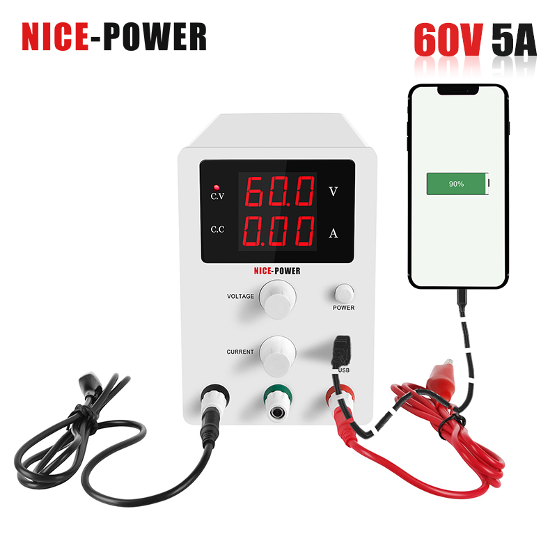 NICE-POWER 60v 5a adjustable switching laboratory power supply Dc power regulator 220v switched source Eye protection LCD screen