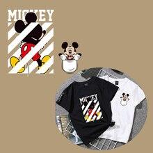 Микки и Минни Маус наклейки теплопередачи для одежды Переводные железные для одежды и тремя футболка передачи уровня аппликации