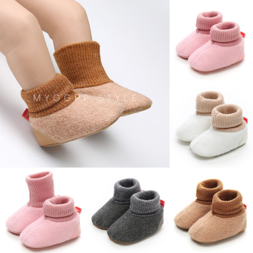Newborn Baby Girls Boys Winter Warm Slippers Toddler Infant Soft Home Climb Sole Shoes 0-18M