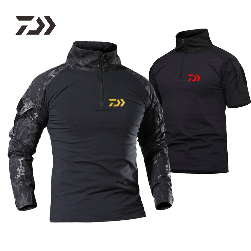 Fishing Clothes Daiwa Shirt Camouflage Outdoor T-shirt Sports Men Python Breathable Fitness Hiking Cycling Fishing Clothing