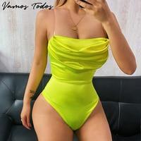 Vamos Todos 2021 Neue Sommer Solide Satin Sexy Body Frauen Low Cut Pile Kragen Slip Körper Top Bodycon Mode Streetwear outfits