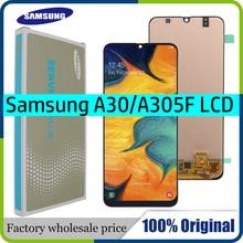 סופר AMOLED 6.4 LCD תצוגה עבור SAMSUNG GALAXY A30 A305/DS A305F A305FD A305A מגע מסך Digitizer עצרת + שירות חבילה