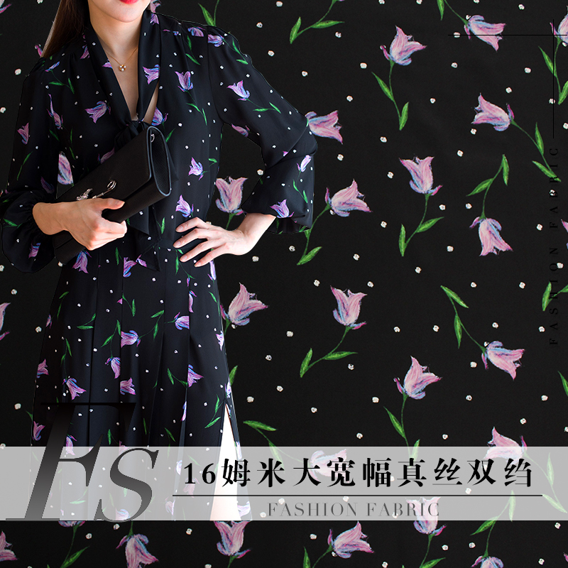(16 Mumi )138cm Width Silk Crepe DE Chine Black Tulip Printed Mulberry Silk Fabric Dress Fabric