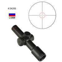 ohhunt 4.5x20E Hunting Rifle Scope Compact Red Illuminated Glass Etched Reticle With Flip open Lens Caps and Rings