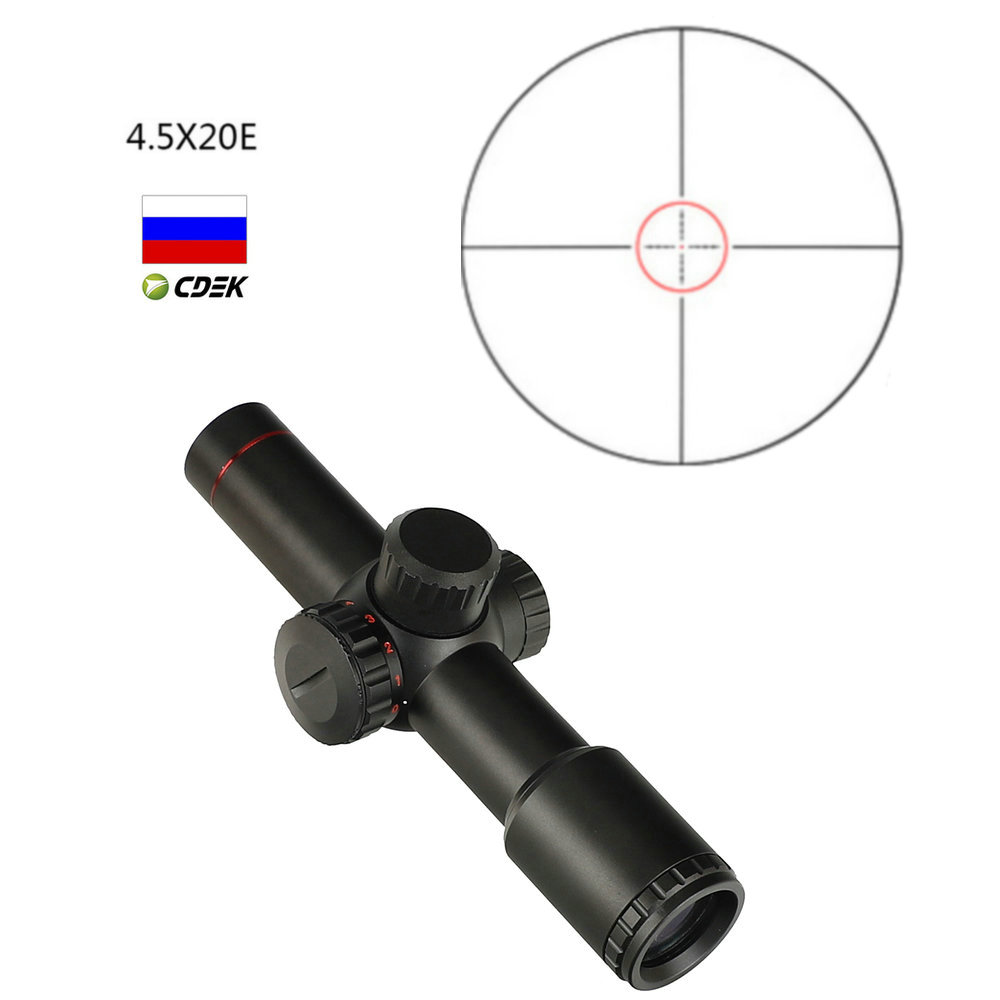 Ohhunt 4.5x20E Hunting Rifle Scope Compact Red Illuminated Glass Etched Reticle With Flip-open Lens Caps And Rings