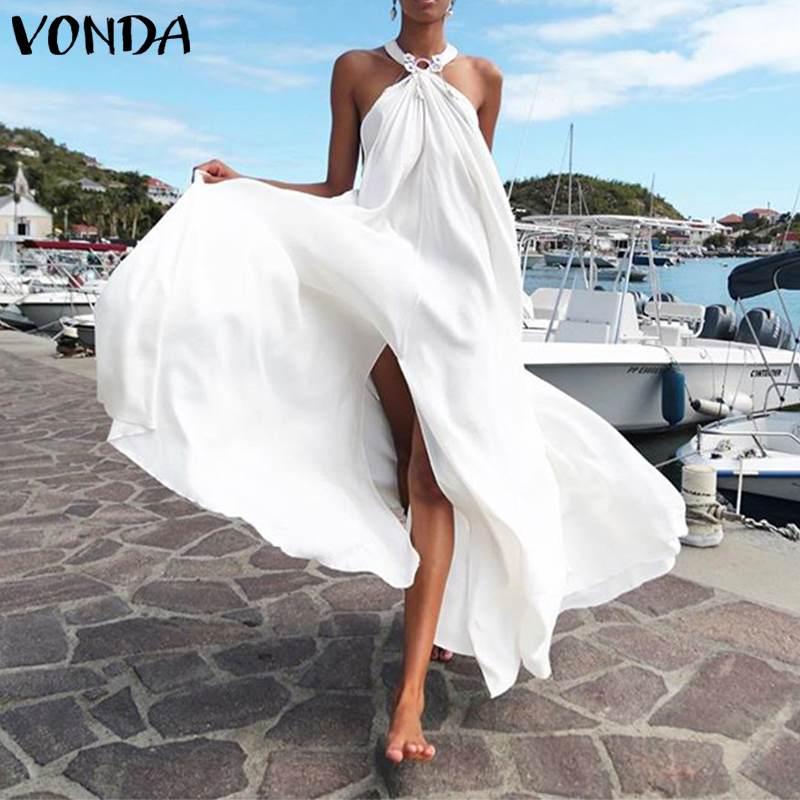 Summer Sundress Women's Dress VONDA Boheiman Sleeveless Backless Party Long Dress Beach Holiday Casual Vestidos Plus Size|Dresses| - AliExpress