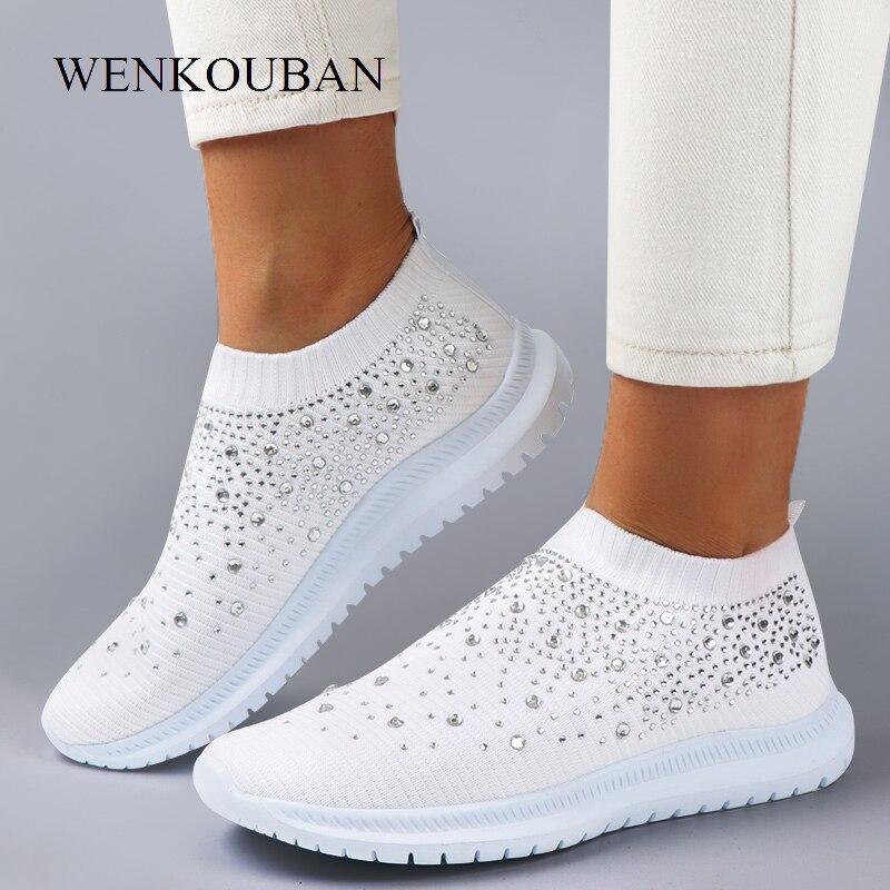 Sapatilhas femininas de cristal moda bling tênis casuais deslizamento em meias formadores inverno vulcanizar sapato zapatillas mujer