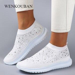 Women Flats Sneakers Crystal Fashion Bling Sneakers Casual Slip On Sock Trainers Winter Women Vulcanize Shoe Zapatillas Mujer
