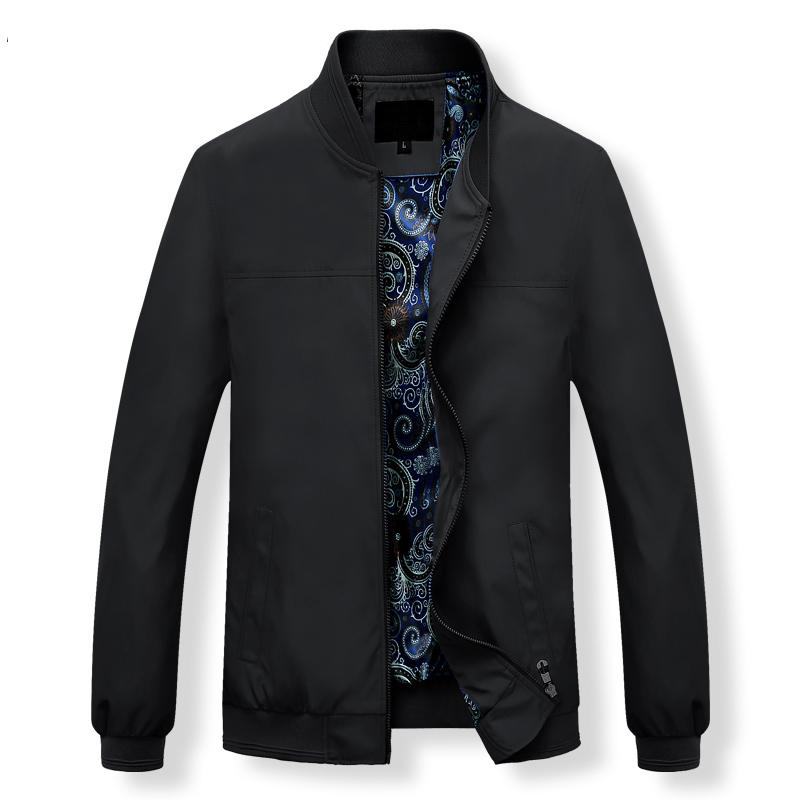 Mens Jackets Autumn Casual Coats Solid Color Mens Stand Collar Zipper Jacket Male Bomber Jacket Men Casual Outerwear
